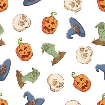 Halloween naadloos patroon met pompoen met de hand en de schedel van de hoedzombie op witte achtergrond