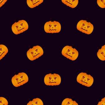 Halloween naadloos patroon met pompoen op zwarte achtergrond