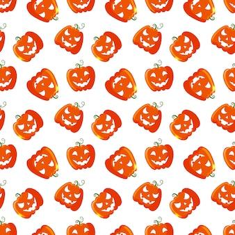 Halloween naadloos patroon met pompoenen.