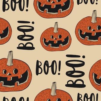 Halloween naadloos patroon met pompoengezichten en