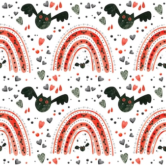 Halloween naadloos patroon met rode regenbogen en vleermuizen spooky digitaal scrapbooking papier