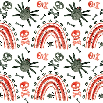 Halloween naadloos patroon met rode schedels, spinnen en regenbogen spooky digitaal scrapbookingpapier