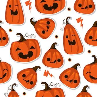 Halloween naadloos patroon met schattige pompoenen en andere halloween-elementen. halloween-vectorachtergrond. eps 10