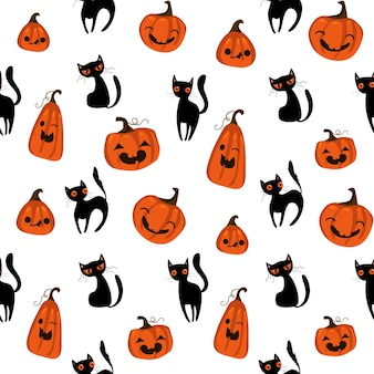 Halloween naadloos patroon met schattige pompoenen, zwarte kat en andere halloween-elementen. halloween-vectorachtergrond. eps 10