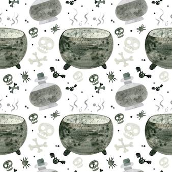 Halloween naadloos patroon met schedels ketel en heks drankjes spooky digitale scrapbooking pape