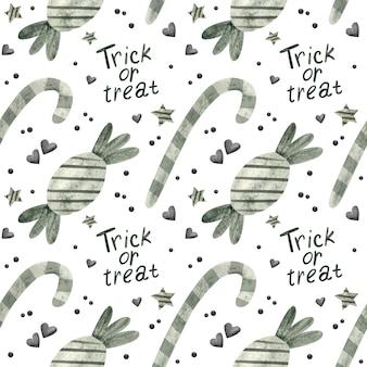 Halloween naadloos patroon met snoep digitaal scrapbookingpapier