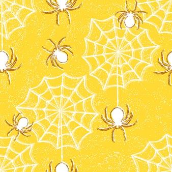 Halloween naadloos patroon met spinnen