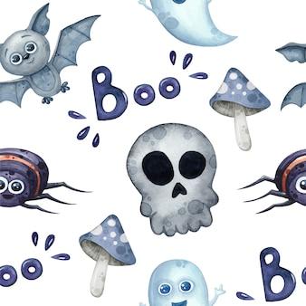 Halloween naadloos patroon met spoken, vleermuis en spin