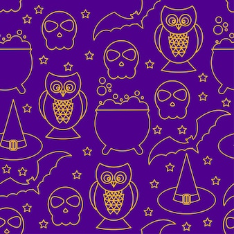 Halloween naadloze patroon achtergrond. abstracte halloween-schetselementen geïsoleerd op paarse omslag. handgemaakt patroon voor ontwerpkaart, uitnodiging, poster, banner, menu, notitieboekje, album enz.