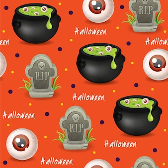 Halloween naadloze patroon achtergrond met toverdrankjes rip boze oog vector