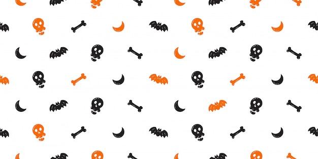 Halloween naadloze patroon achtergrondbeeldverhaalstijl