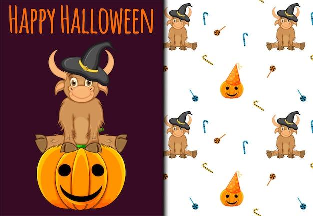Halloween naadloze patroon en kerstkaart. cartoon-stijl. vector illustratie.