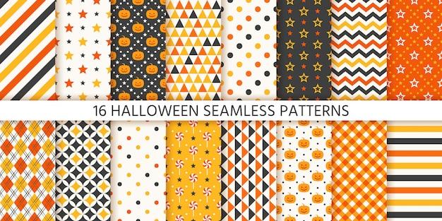 Halloween naadloze patroon. geometrische set