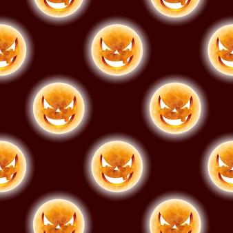 Halloween naadloze patroon illustratie met maan enge gezichten op donkere achtergrond.