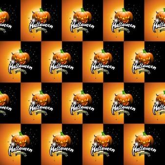Halloween naadloze patroon illustratie met pompoenen eng en gezichten op donkere achtergrond.