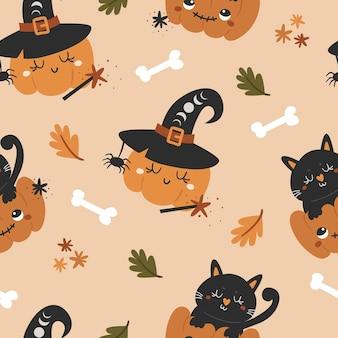 Halloween naadloze patroon met schattige pompoenen. patroon voor scrapbooking, behang, kinder- en kinderkleding.