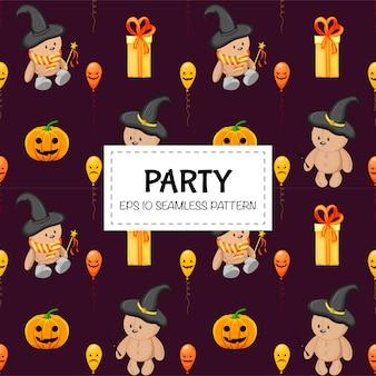Halloween naadloze patroon met teddyberen. cartoon stijl. illustratie.