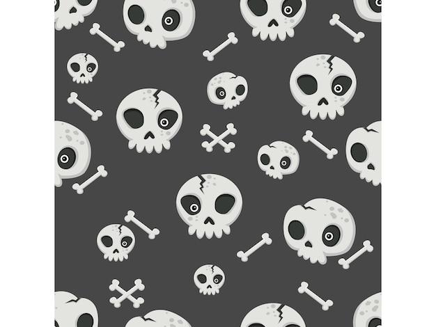 Halloween naadloze patroon schedels. cartoon tekens halloween illustratie. vector patroon voor papier achtergrond vector