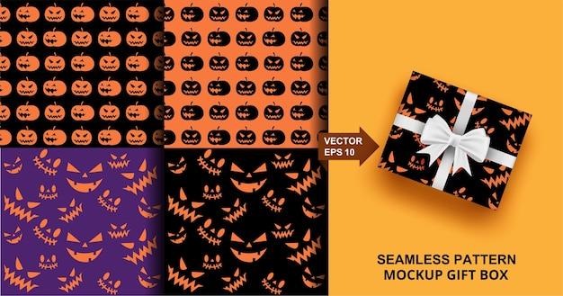 Halloween naadloze patroon set. enge pompoen. ontwerp voor mode, kleding, stof, cadeaupapier.