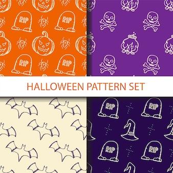 Halloween naadloze patroon set.