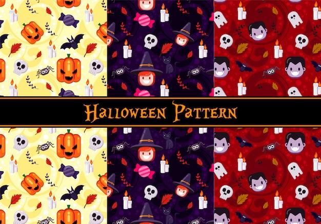 Halloween naadloze patroon set