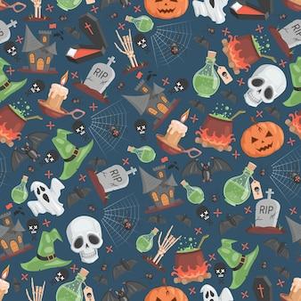 Halloween naadloze patroon trick or treat halloween party vector plat Premium Vector