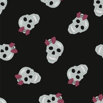 Halloween-naadloze patroon zwarte schedel Premium Vector