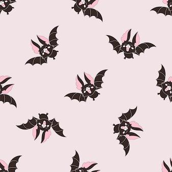 Halloween naadloze patroon zwarte vleermuis Premium Vector