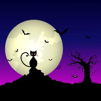 Halloween nacht achtergrond met kat en spookachtige boom