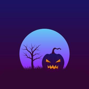 Halloween nacht achtergrond met kopie ruimte angstaanjagende pompoen en kale boom met volle maan