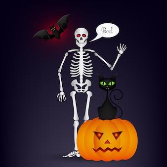 Halloween nacht achtergrond met volle maan, schattige dansende skeletten en vleermuizen.