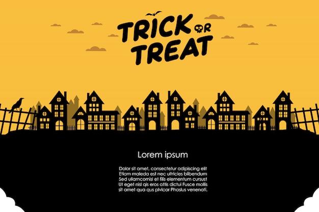 Halloween-nacht en donkere stadsbanner