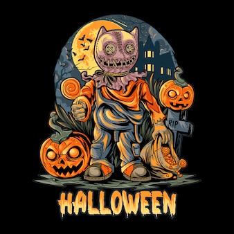 Halloween nacht en pompoenen kunstwerk