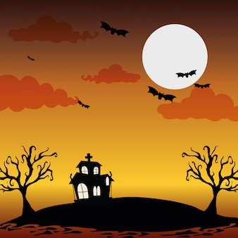 Halloween nacht landschap