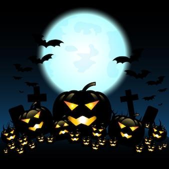 Halloween-nacht met pompoenen en blauwe maan