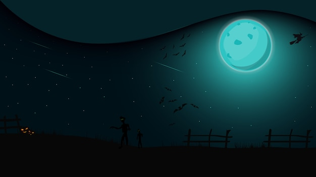 Halloween nacht, nacht landschap met volle maan, heksen en zombies