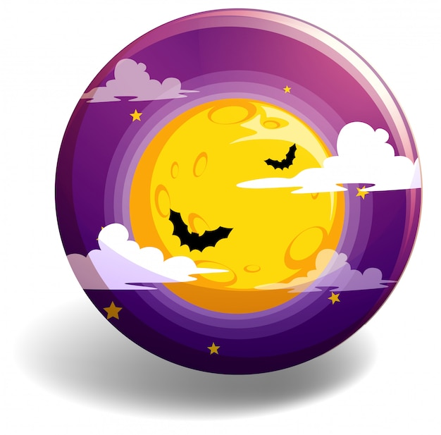 Halloween-nacht op ronde badge