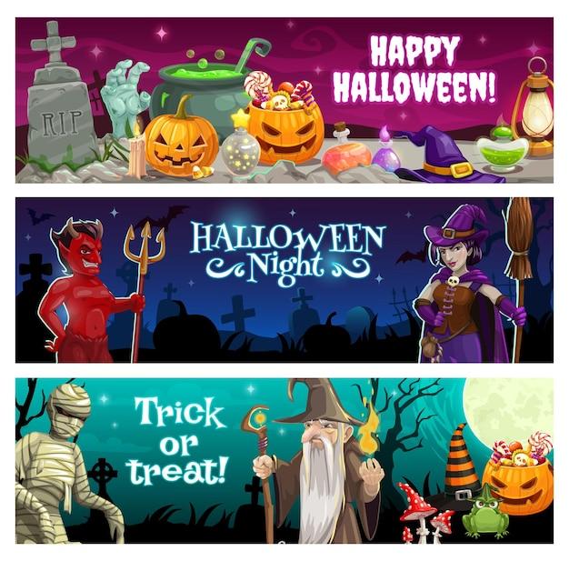 Halloween-nachtbanners met lekkernijen en monsters