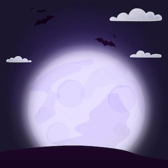Halloween-nachtbos met maan. allerheiligenavond. heiligendag