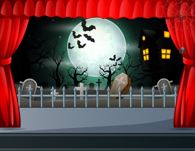 Halloween-nachtconcept als achtergrond op stadiumillustratie