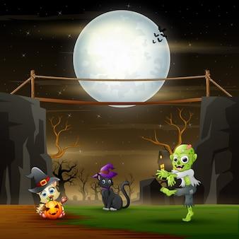 Halloween-nachtlandschap met zombie en katten in het maanlicht