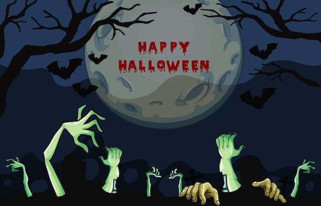 Halloween-nachtposterontwerp met zombiehanden