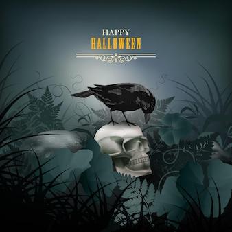 Halloween-nachtscène met een schedel en zwarte raaf