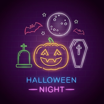Halloween night neon sign