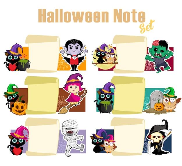 Halloween notitie pack cartoon