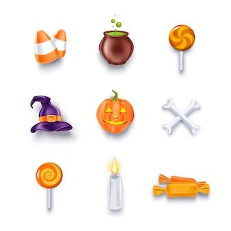 Halloween-objecten en ontwerpelementenpictogrammen die voor ontwerp worden geplaatst.