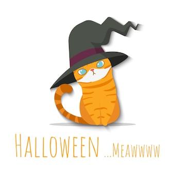Halloween oranje kat draagt heks hoed gekostumeerd.