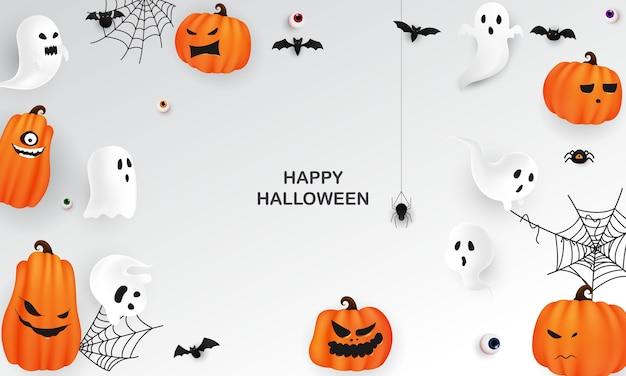 Halloween paper art partij poster. carnaval achtergrond conceptontwerp