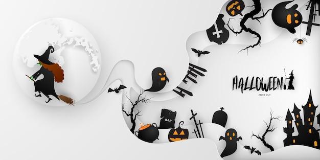 Halloween paper art partij poster. set pompoenen van collectie eng en grappig carnaval achtergrond conceptontwerp