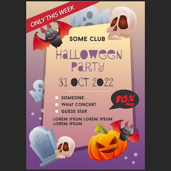 Halloween-partij poster sjabloon met vleermuis schedel graf